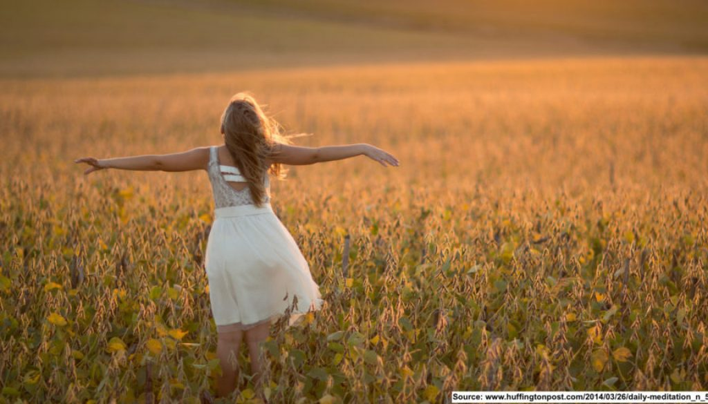 dancing in field of flowers